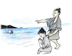 久高島のイシキ浜に種の入った壷が流れ着いた